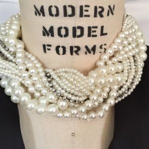 Jewelry - Chunky Braided Pearl and Rhinestone Necklace